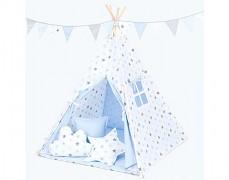 Dětské TeePee modro-šedé hvězdičky
