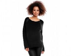 Těhotenský černý rozepínací svetřík