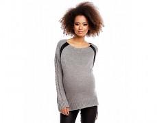 Těhotenský šedý tmavý rozepínací svetřík
