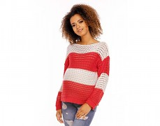 Těhotenský červený pruhovaný svetr