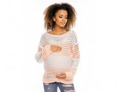 Těhotenský meruňkový pruhovaný svetr