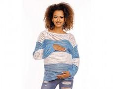 Těhotenský modrý pruhovaný svetr