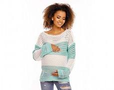 Těhotenský mint pruhovaný svetr