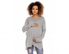 Těhotenský šedý svetr se zipem