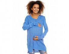 Těhotenský modrý svetr se zipem