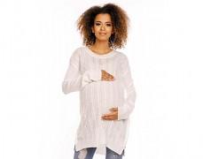 Těhotenský bílý svetr se zipem