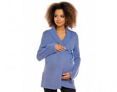 Těhotenský modrý svetr zavinovací