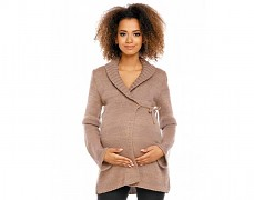 Těhotenský hnědý svetr zavinovací