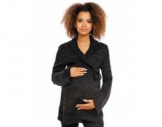 Těhotenský černý svetr zavinovací