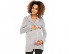 Těhotenský šedý svetr zavinovací