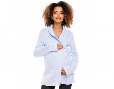 Těhotenský modrý světlý svetr zavinovací