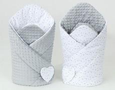 Zavinovačka bílé mini hvězdičky s šedou, oboustranná