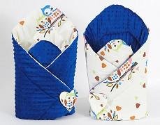 Zavinovačka krémové sovičky s modrou, oboustranná
