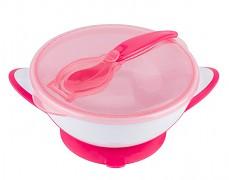 Miska s přísavkou a lžičkou růžová