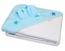 Osuška s kapucí a oušky, modrá hvězdy 100x100