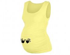 Těhotenské žluté tílko s ručičkami