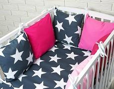 Souprava do postýlky 3dílná modrá Bigstars s růžovou