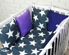 Souprava do postýlky 3dílná modrá Bigstars s fialovou