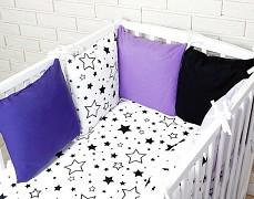 Souprava do postýlky 3dílná černobílé hvězdy s fialovou