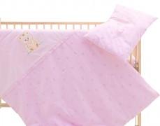 Dětské povlečení růžové s obláčky
