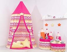 Dětský závěsný stan růžovo-žlutý ZigZag