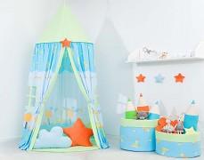 Dětský závěsný stan modrý hlemýždí domek