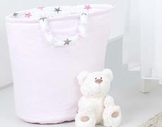Oboustranný koš na hračky růžovo-šedé hvězdičky