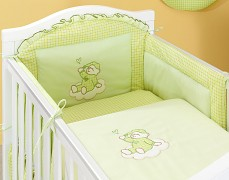 Dětské povlečení zelený obláček kostička