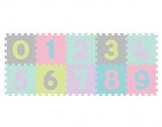 Pěnové puzzle pastelové-čísla 10ks