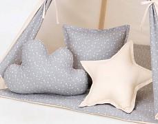 Set polštářků šedé mini hvězdičky s béžovou