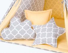 Set polštářků šedý ornament se žlutou