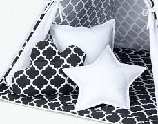Set polštářků černý ornament s bílou