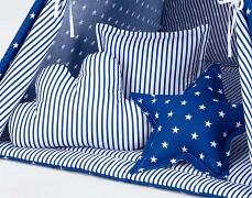 Set polštářků modrá hvězda s proužkem