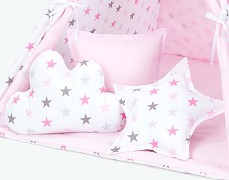 Set polštářků růžovo-šedé hvězdičky
