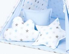 Set polštářků modro-šedé hvězdičky