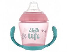 Nevylévací hrníček se silikonovým pítkem růžový Sea Life