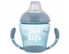Nevylévací hrníček se silikonovým pítkem modrý Sea Life