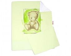 Set zelená Teddy s bílou Minky