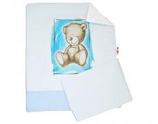 Set modrá Teddy s bílou Minky