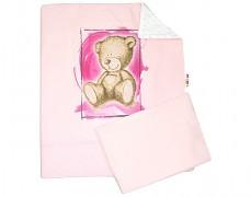 Set růžová Teddy s bílou Minky
