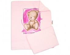 Set růžová Teddy s růžovou Minky
