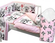 Souprava do postýlky 3dílná růžová Cute Animals + zavinovačka