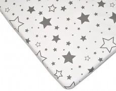 Bavlněné prostěradlo šedobílé hvězdy