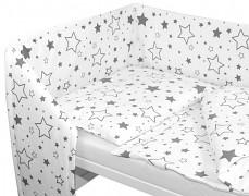Souprava do postýlky 3dílná šedobílé hvězdy