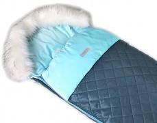 Fusak modrý prošívaný, velvet s kožešinkou