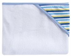 Osuška modrá s kapucí proužky
