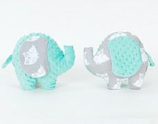Polštářek šedé sovičky s mint sloník