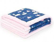 Dětská deka modro-růžové labutě velvet 75x100