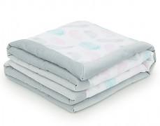 Dětská deka šedé peříčko velvet 75x100