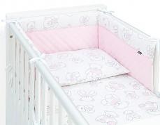 Mantinel růžový medvěd prošívaný velvet 120x60